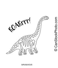Black and white line art with dinosaur skeleton