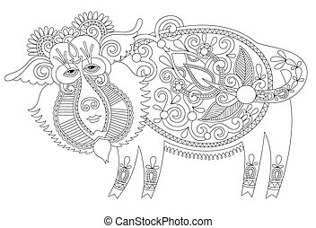 line drawing in ukrainian karakoko style of decorative...