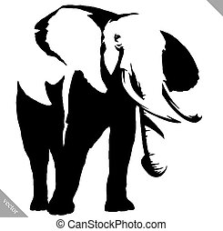 black and white linear paint draw elephant illustration -...