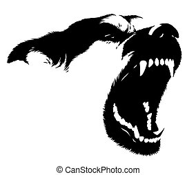 black and white linear paint draw dog illustration - black...