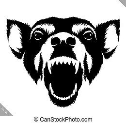 black and white linear draw dog vector illustration