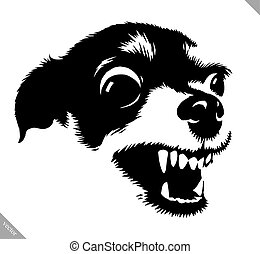 black and white linear paint draw dog vector illustration -...