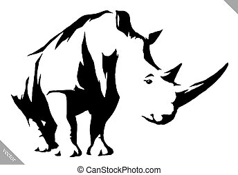 black and white linear draw rhino vector illustration