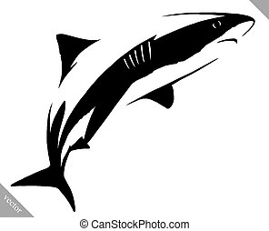 black and white linear paint draw shark illustration