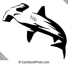 black and white linear paint draw hammerhead illustration