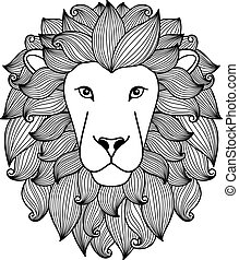 Black and white lion head