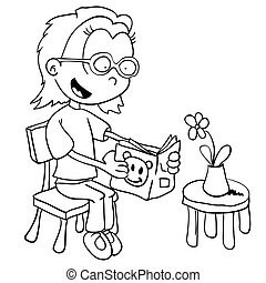 black and white little girl reading