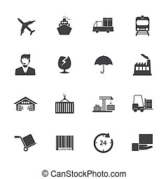Black and White Logistics icons vector EPS10