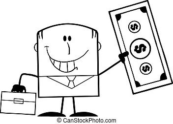 Black And White Lucky Businessman With Briefcase Holding A Dollar Bill Cartoon Character