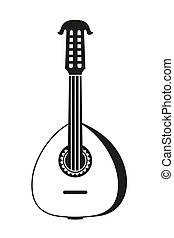 Black and white lute. String musical instrument. Mexico...