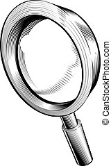 black and white magnifying glass