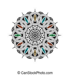 black and white mandala - Black and white mandala with color...