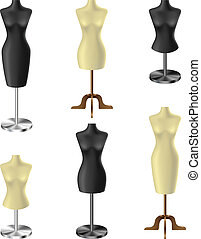 Black and white mannequin set