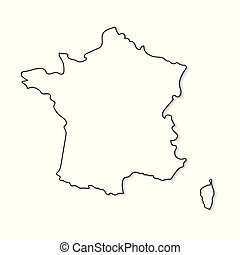 black and white map of France