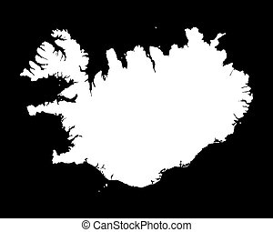 black and white map of Iceland