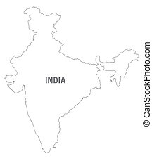 black and white map of India
