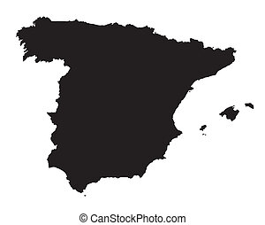 black and white map of Spain