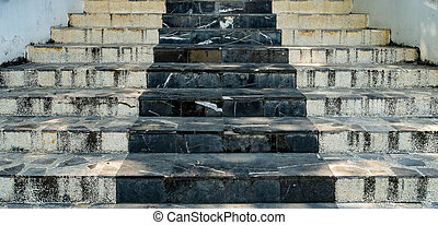 Black and white marble staircase