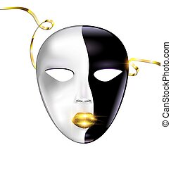 black and white mask of face