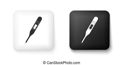 Black and white Medical digital thermometer for medical examination icon isolated on white background. Square button. Vector
