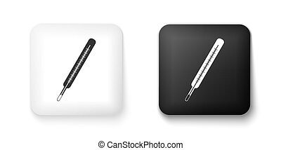 Black and white Medical thermometer icon isolated on white background. Square button. Vector