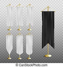 Black and white medieval pennant banner set with realistic silk flags
