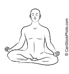 Black and white meditation pose. Characters outline stylized
