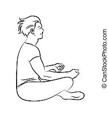meditation pose - Black and white meditation pose. ...