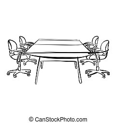 black and white meeting room desk. hand-drawn vector sketch. business concept design.