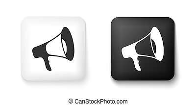 Black and white Megaphone icon isolated on white background. Square button. Vector