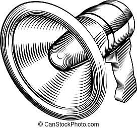 black and white megaphone - a black and white illustration...