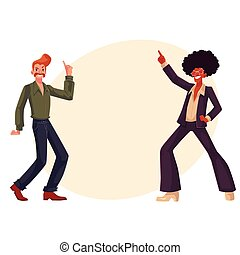 Black and white men in 1970s style clothes dancing disco