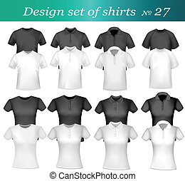Black and white men polo shirts and t-shirts. Photo-...