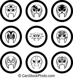 black and white Mexican wrestling masks icon on a white background