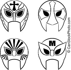 black and white Mexican wrestling masks on a white background