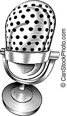 black and white microphone - a black and white illustration...