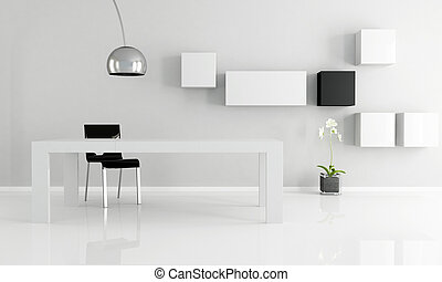 black and white minimalist dining room
