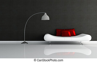 black and white minimalist lounge with fashion couch and red silk pillow-rendering