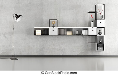 Black and white minimalist lounge