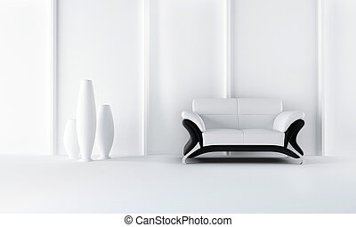 Black and white modern style sofa