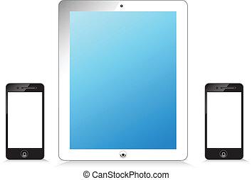 Black and white modern tablet phone
