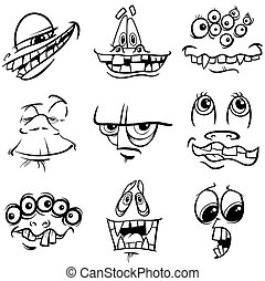 black and white monster characters - Black and White Cartoon...