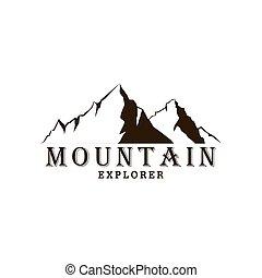 Black and White Mountain Explorer Adventure Badge Logo, Sign, Icon Vector