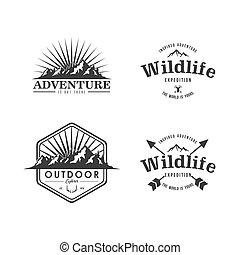 Black and White Mountain Explorer Adventure Badge Vector Design Set