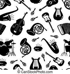 Black and white music instruments seamless pattern design