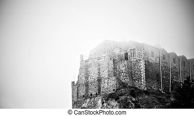"""Black and white mysterious haunted castle standing on foggy top of mountain"""