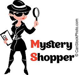 Black and white mystery shopper woman in spy coat, boots,...