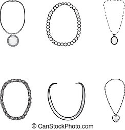 Illustration of beautiful elegant silver necklaces collection