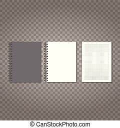 Black and white notepad with checked paper