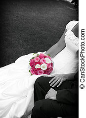 pink bouquet - black and white of bride and groom with the ...